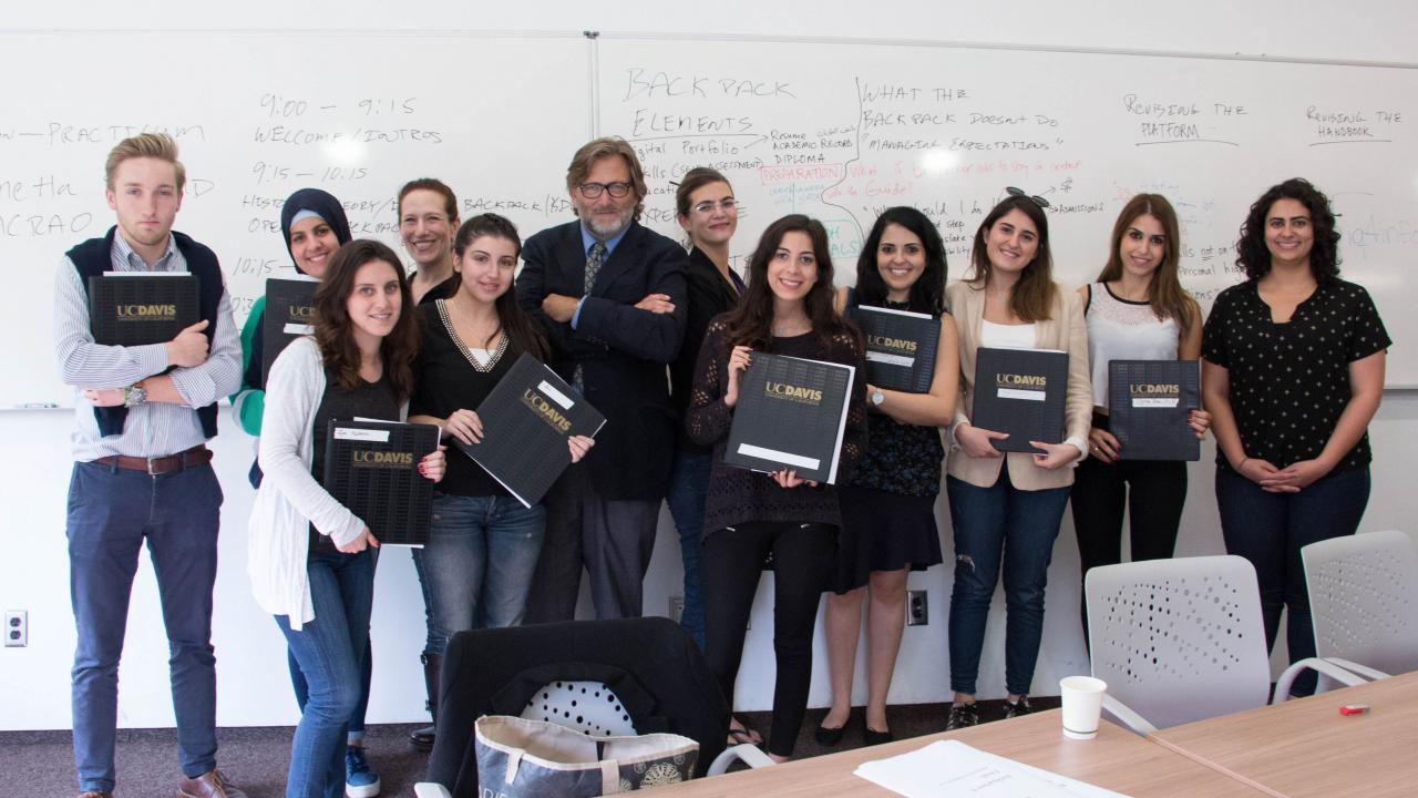 UC Davis professor Keith David Watenpaugh with a group of students