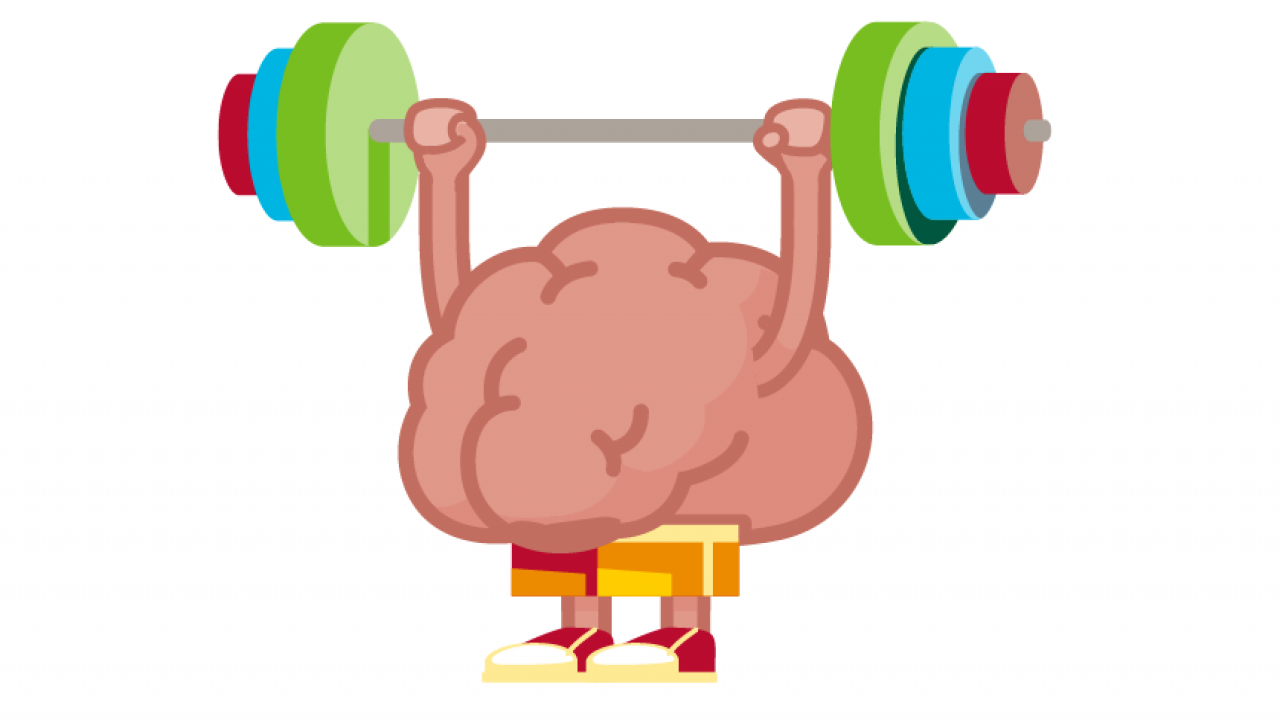 Brain weight lifting illustration