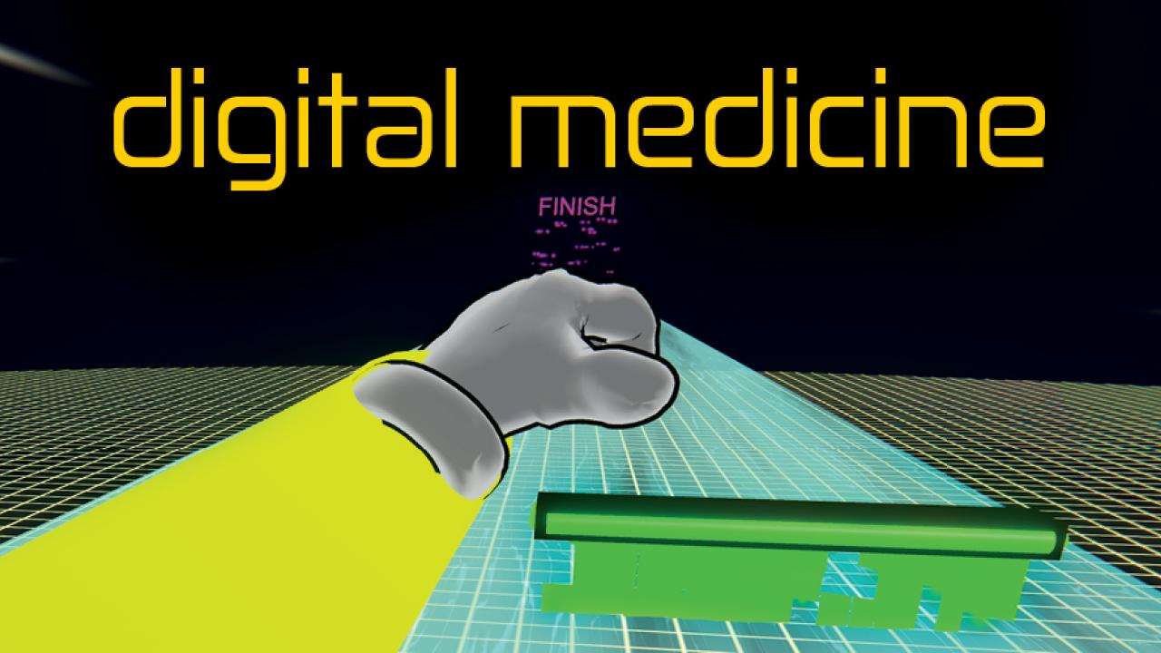 Video game screen capture with words 'digital medicine' across the top