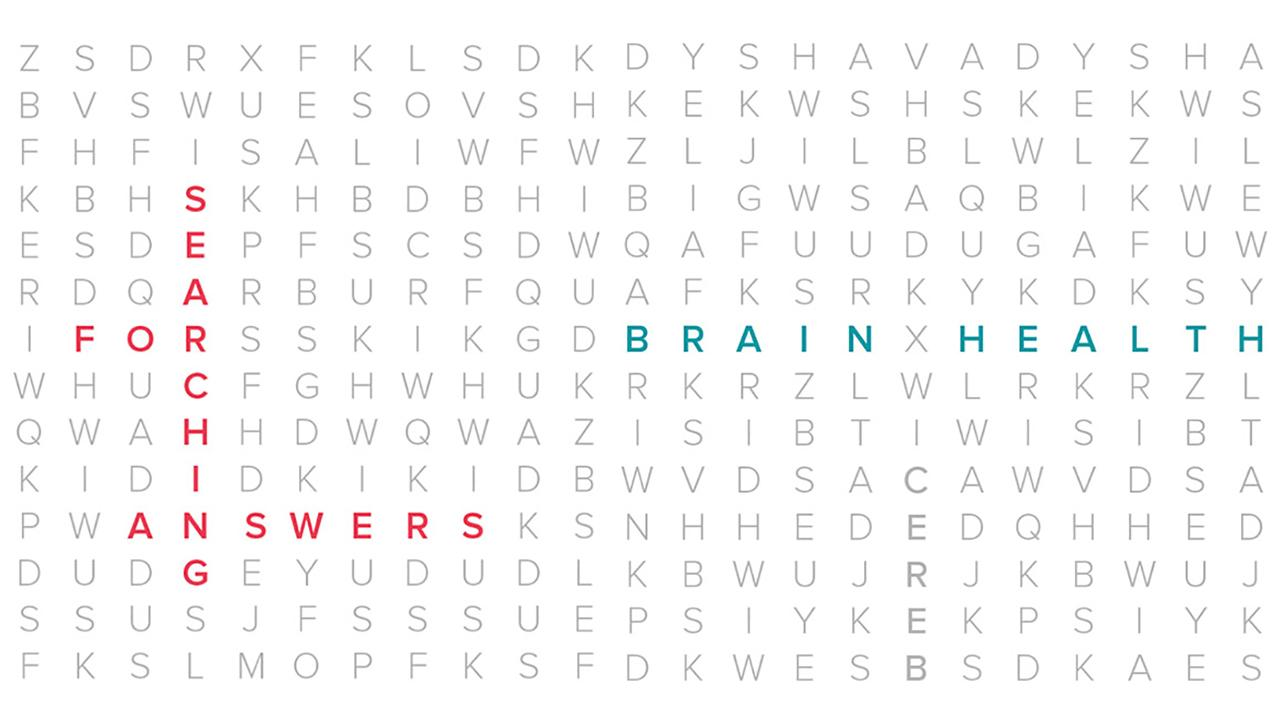 Word search with the words Searching For Answers and Brain Health highlighted