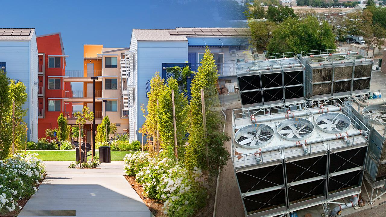 Collage of various campus buildings show UC Davis carbon neutral clean energy efforts.