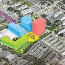 Preliminary design for Aggie Square comprises the components depicted here by color: Red for lifelong learning — UC Davis Continuing and Professional Education and a network of partners and programs. Green — housing and market plaza. Blue for life sciences — technology and engineering research programs and industry partners. Purple — mobility hub for electric buses, bike- and car-sharing, shuttles and more. Yellow — Aggie Square.
