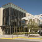 Exterior of Gallagher Hall at UC Davis, a LEED certified building